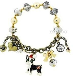 Betsey Johnson Charm Bracelet Santa Bulldog NEW